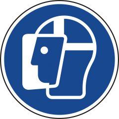 Gesichtsschutz benutzen, Gebotszeichen, M013, ASR A1.3, DIN EN ISO 7010, Polypropylen, blau - weiß, Ø 50 mm