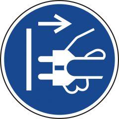 Vor dem Öffnen Netzstecker ziehen, Gebotszeichen, M006, ASR A1.3, DIN EN ISO 7010, Polypropylen, blau - weiß, Ø 50 mm