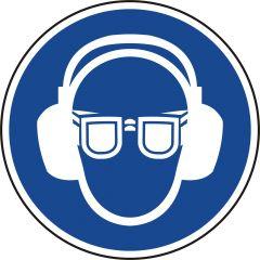 Augen- und Gehörschutz tragen, Gebotszeichen, Polypropylen, blau - weiß, Ø 100 mm
