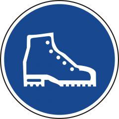 Sicherheitsschuhe benutzen, Gebotszeichen, Polypropylen, blau - weiß, Ø 200 mm