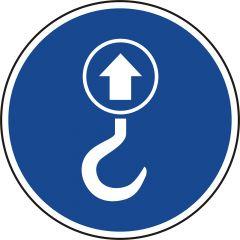 lifting point, mandatory sign, polypropylene, blue - white, Ø 50 mm