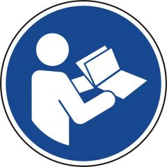 read the manual, mandatory sign, M002, ASR A1.3, DIN EN ISO 7010, polypropylene, blue - white, Ø 20 mm