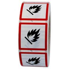 GHS-Etikett GHS 02, Warnung feuergefährliche Stoffe, Polypropylen, weiß-schwarz/rot, 25 x 25 mm, 1000 Etiketten