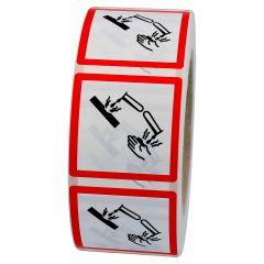 GHS-Etikett GHS 05, Warnung ätzende Stoffe, Polypropylen, weiß-schwarz/rot, 15 x 15 mm, 1000 Etiketten
