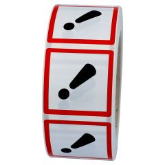 GHS labels GHS 07, Achtung (Caution), polypropylene, white-black/red, 50 x 50 mm, 1000 labels