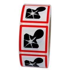 GHS-Etikett GHS 08, Warnung gesundheitsgefährdende Stoffe, Polypropylen, weiß-schwarz/rot, 15 x 15 mm, 1000 Etiketten