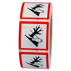GHS-Etikett GHS 09, Warnung Umweltgefahr, Polypropylen, weiß-schwarz/rot, 25 x 25 mm, 1000 Etiketten