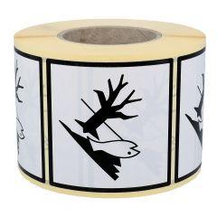 dangerous goods labels, caution environmental hazard, paper, white-black, 100 x 100 mm, 1000 labels