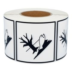 dangerous goods labels, caution environmental hazard, polyethylene, white-black, 100 x 100 mm, 1000 labels