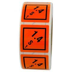 Gefahrgutetiketten, Warnung explosionsgefährliche Stoffe, Vinyl, orange-schwarz, 50 x 50 mm, 1000 Etiketten