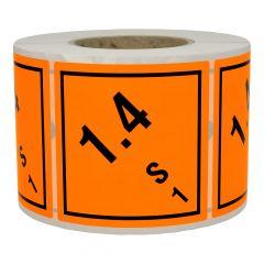 Gefahrgutetiketten, Warnung explosionsgefährliche Stoffe, Papier, orange-schwarz, 100 x 100 mm, 1000 Etiketten