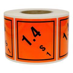 Gefahrgutetiketten, Warnung explosionsgefährliche Stoffe, Polyethylen, orange-schwarz, 100 x 100 mm, 1000 Etiketten
