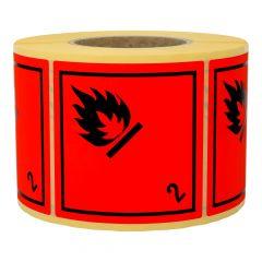 Gefahrgutetiketten, Gase und gasförmige Stoffe, 2, Papier, rot-schwarz, 100 x 100 mm, 1000 Etiketten