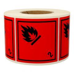 Gefahrgutetiketten, Gase und gasförmige Stoffe, 2, Polyethylen, rot-schwarz, 100 x 100 mm, 1000 Etiketten