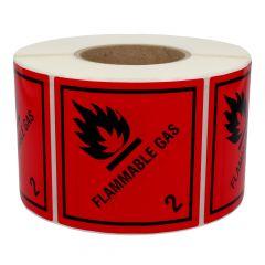 Gefahrgutetiketten, Gase und gasförmige Stoffe, flammable gas - 2, Polyethylen, rot-schwarz, 100 x 100 mm, 1000 Etiketten