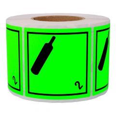 Gefahrgutetiketten, Nicht brennbares giftiges Gas, 2, Papier, grün-schwarz, 100 x 100 mm, 1000 Etiketten