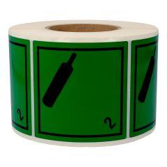 Gefahrgutetiketten, Nicht brennbares giftiges Gas, 2, Polyethylen, grün-schwarz, 100 x 100 mm, 1000 Etiketten