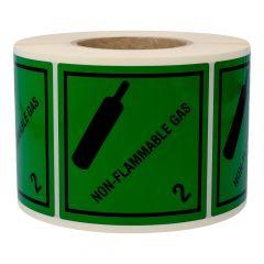 Gefahrgutetiketten, Nicht brennbares giftiges Gas, non-flammable gas - 2, Polyethylen, grün-schwarz, 100 x 100 mm, 1000 Etiketten