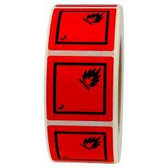 Gefahrgutetiketten, Entzündbare flüssige Stoffe, 3, Vinyl, rot-schwarz, 50 x 50 mm, 1000 Etiketten