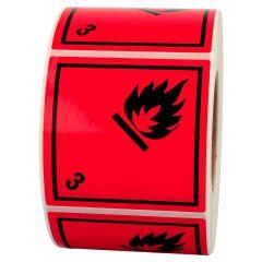 Gefahrgutetiketten, Entzündbare flüssige Stoffe, 3, Polyethylen, rot-schwarz, 100 x 100 mm, 500 Etiketten