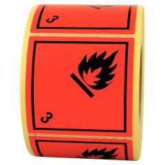 Gefahrgutetiketten, Entzündbare flüssige Stoffe, 3, Papier, rot-schwarz, 100 x 100 mm, 1000 Etiketten