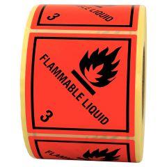 Gefahrgutetiketten, Entzündbare flüssige Stoffe, flammable liquid -3, Papier, rot-schwarz, 100 x 100 mm, 1000 Etiketten