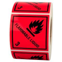 Gefahrgutetiketten, Entzündbare flüssige Stoffe, flammable liquid -3, Polyethylen, rot-schwarz, 100 x 100 mm, 1000 Etiketten