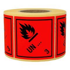 Gefahrgutetiketten nach Kundenwunsch, Klasse 3 - Entzündbare flüssige Stoffe, rot, 100 x 100 mm