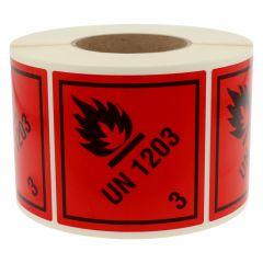 Gefahrgutetiketten, Entzündbare flüssige Stoffe, UN 1203 - 3, Polyethylen, rot-schwarz, 100 x 100 mm, 1000 Etiketten