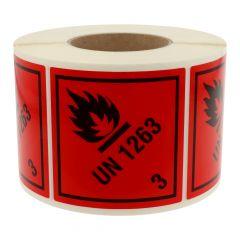 Gefahrgutetiketten, Entzündbare flüssige Stoffe, UN 1263 - 3, Polyethylen, rot-schwarz, 100 x 100 mm, 1000 Etiketten