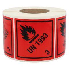 Gefahrgutetiketten, Entzündbare flüssige Stoffe, UN 1993 - 3, Polyethylen, rot-schwarz, 100 x 100 mm, 1000 Etiketten