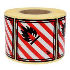 Gefahrgutetiketten, Entzündbare feste Stoffe, 4, Papier, rot/weiss-schwarz, 100 x 100 mm, 1000 Etiketten
