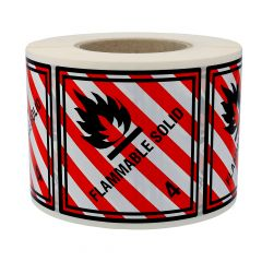 Gefahrgutetiketten, Entzündbare feste Stoffe, flammable solid - 4, Polyethylen, rot/weiss-schwarz, 100 x 100 mm, 1000 Etiketten