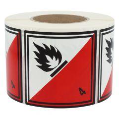 Gefahrgutetiketten, Selbstentzündliche Stoffe, 4, Polyethylen, rot/weiß-schwarz, 100 x 100 mm, 1000 Etiketten