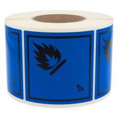 Gefahrgutetiketten, Entzündliche Gase - mit Wasser, 4, Polyethylen, blau-schwarz, 100 x 100 mm, 1000 Etiketten