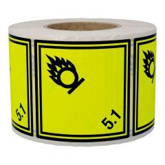 Gefahrgutetiketten, Entzündend wirkende Stoffe, 5,1, Papier, gelb-schwarz, 100 x 100 mm, 1000 Etiketten