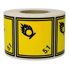 Gefahrgutetiketten, Entzündend wirkende Stoffe, 5,1, Polyethylen, gelb-schwarz, 100 x 100 mm, 1000 Etiketten