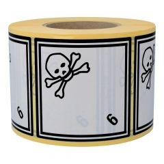 Gefahrgutetiketten, Giftige Stoffe, 6, Papier, weiß-schwarz, 100 x 100 mm, 1000 Etiketten