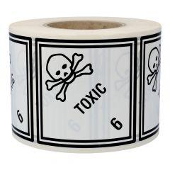 Gefahrgutetiketten, Giftige Stoffe, Toxic - 6, Polyethylen, weiß-schwarz, 100 x 100 mm, 1000 Etiketten