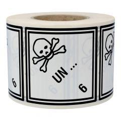 Gefahrgutetiketten nach Kundenwunsch, Klasse 6.1 - Giftige Stoffe, weiß, 100 x 100 mm