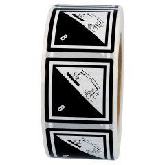 Gefahrgutetiketten, Ätzende Stoffe, 8, Polypropylen, weiß/schwarz-schwarz, 50 x 50 mm, 1000 Etiketten