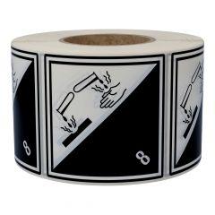 Gefahrgutetiketten, Ätzende Stoffe, 8, Polyethylen, weiß/schwarz-schwarz, 100 x 100 mm, 500 Etiketten