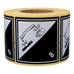 Gefahrgutetiketten, Ätzende Stoffe, 8, Papier, weiß/schwarz-schwarz, 100 x 100 mm, 1000 Etiketten