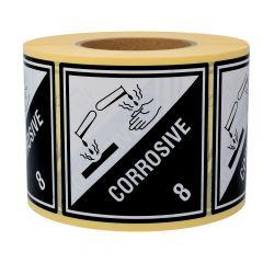 Gefahrgutetiketten, Ätzende Stoffe, Papier, weiß/schwarz-schwarz, 100 x 100 mm, 1000 Etiketten