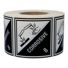 Gefahrgutetiketten, Ätzende Stoffe, Polyethylen, weiß/schwarz-schwarz, 100 x 100 mm, 1000 Etiketten