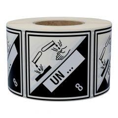 Gefahrgutetiketten nach Kundenwunsch, Klasse 8 - Ätzende Stoffe, schwarz/weiß, 100 x 100 mm