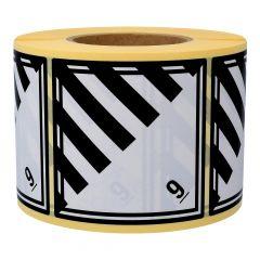 Gefahrgutetiketten, Verschiedene gefährliche Stoffe, 9, Papier, weiß/schwarz-schwarz, 100 x 100 mm, 1000 Etiketten