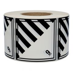Gefahrgutetiketten, Verschiedene gefährliche Stoffe, 9, Polyethylen, weiß/schwarz-schwarz, 100 x 100 mm, 1000 Etiketten