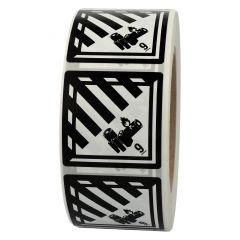 Gefahrgutetiketten, Lithium-Batterien, 9, Papier, weiß/schwarz-schwarz, 50 x 50 mm, 1000 Etiketten
