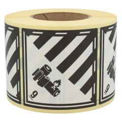 Gefahrgutetiketten, Lithium-Batterien, 9, Papier, weiß/schwarz-schwarz, 100 x 100 mm, 1000 Etiketten